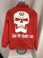 Mens Red Jacket Windbreaker Skull Punk The Choice SZ L Large Rock Emo Goth Rare
