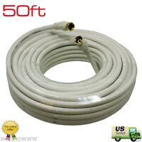 50Feet RG6 F-Coaxial Coax 50 Feet Cable Wire Satellite HD Antenna TV White