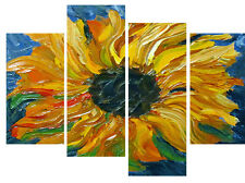 """OLIO di girasole dipinto su tela opera d'arte Foto Multi 4 Panel 40"""" x 28"""""""