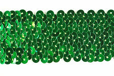20 metres × 4cm wide, Green Sequined Elastic Stretch Trim