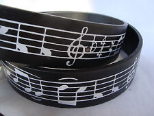 MUSIC Leather Belt Black Sz Lg Music Symbols Silver Buckle For Guys/Gals NEW