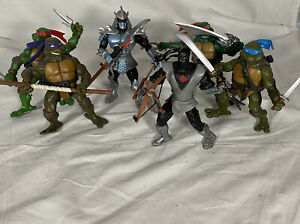 "6 TMNT Teenage Mutant Ninja Turtles 2002 Mirage Studios 5"" Figures w/ Weapons"