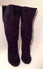 Charlotte Russe Boots Black Suede Leather Rusch Knee-High Low Heel 8 Medium