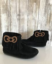 Minnetonka Hello Kitty Bow Girls Black Suede Fringe Bow Boots * 11 RARE!