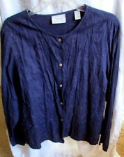 LORD & TAYLOR PETITES PLUM PURPLE JACKET EMBROIDERY 100% LINEN SHELL BUTTONS PL