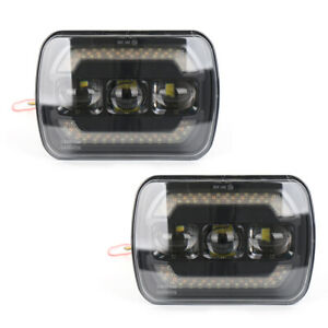 """7"""" 60W High/Low light LED Square Headlights Projector Halo DRL Turn Signal Lamp"""