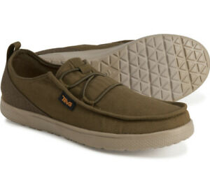 Teva Mens Voya Lace Lightweight Slip-on Olive Canvas Casual Loafers Shoes Sz 8