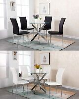 WestWood Glass Round Dining Table and 4 Chairs Set Faux Leather Chrome Legs DS12