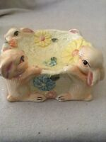 "vintage pearlized bunny ceramic bowl/planter 8"" by pretty petals"