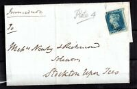 GB QV 1853 2d blue imperf (1841) cover Sunderland to Stockton WS20064