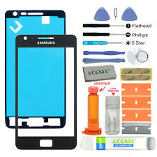 Samsung Galaxy S2 Front Glass lens Screen Replacement Repair Kit Black + UV Glue