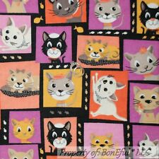 BonEful Fabric FQ Cotton Quilt Flannel Black Baby Girl Kitty Cat Fish Block B&W