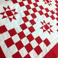 Patchwork Dark Red & White Double Irish Chain Star QUILT TOP