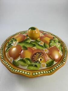 NWOB TEMP-TATIONS Handcrafted/Hand Painted Figural Fruit Peach Mini Pie Dish