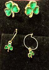 Erin Go Bragh Vintage Pins and Earring Set #4 St Patrick's Rare! Shamrock Clover