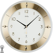 Ams 5850 Wall Clock Rc Radio Analogue Brass Colours round Glass and Aluminium