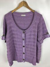 BONITA Strickjacke, kurzarm, fliederfarben, Größe XL+, Baumwolle