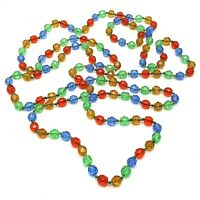"""Vintage Costume Jewellery Extra Long 160cm 63"""" Colourful Glass Bead Necklace"""
