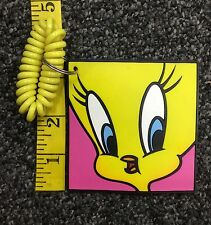 TM & Warner Bros 1992 Looney Tunes Tweety Bird Face Rubber Keychain Used