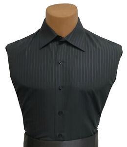 Men's Black Bello Uomo Dress Shirt with Stripe Laydown Point Collar Microfiber