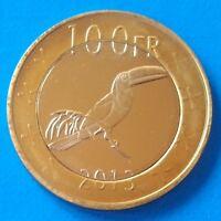 Katanga 100 Francs 2013 UNC Hornbill Bird Bi-metallic bimetal unusual coinage
