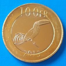 Katanga 100 Francs 2013 UNC Hornbill Bird Bi-metallic bimetal unusual coinage