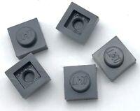 Lego 5 New Dark Bluish Gray Plates 1 x 1 Dot Pieces