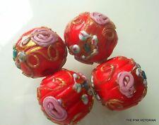 (4)pc LOT of VINTAGE 1cm Venetian CHERRY RED ornate WEDDING CAKE beads JEWLERY