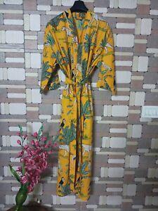 Yellow Color Kimono Dress Boho Maxi Bathrobe Cover Up Indian Handmade Sleepwear