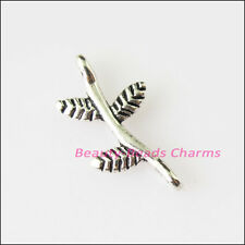 35 New Tiny Leaf Connectors Tibetan Silver Tone Charms Pendants 9x17mm