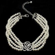 Diamond Pearl Pet Dog Necklace Rhinestone Flower Decoration Dog Collars L Size