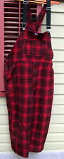 Vintage Woolrich Men's Wool Bib Overalls Extra  Large   RED & BLACK PLAID