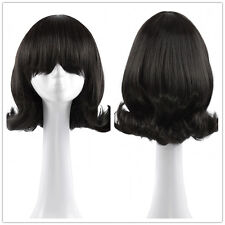 Retro Women's Neat Bangs Short Curly Wig Natural Classic Black Wigs Party Hair