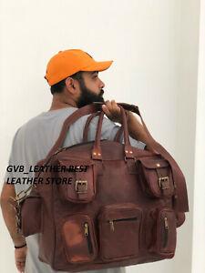 "17.5"" Mens Bag Leather Duffle 5 Pocket Travel Luggage Vintage Weekend Overnight"