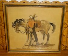 Framed Watercolor Painting - Cowboy Standing By Horse - Orson Linn