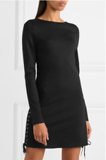 ALEXANDER MCQUEEN MCQ Black Lace-Up Sides Bodycon Mini Dress *NWT* - UK 10