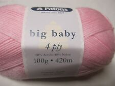 PATONS BIG BABY 4 PLY YARN,2 BALLS CANDY PINK NO 2590,100GR,NEW COLOUR
