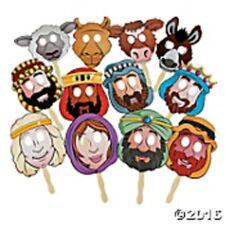 "Paper Nativity  Masks 12 piece set on 5"" plastic flat sticks 9 1/4"" to 12"""