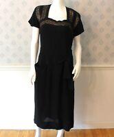 Vintage 1940s Black Crepe Lace Inset Short Sleeve Dress