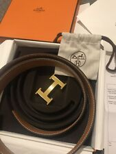 Genuine Hermes Reversible Leather  Belt (95) In Box With Receipt