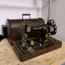 Antique 1912 Singer 28K Sewing Machine Hand Crank Shuttle Bobbin Bent Wood Case