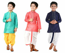 Boys Dupion Silk Weding Party Dhoti Kurta Set 1-14 Year Kids Embroidery Dress