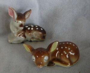 vintage BAMBI deer fawn ceramic ornaments Japan x2