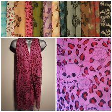 Ladies Scarf Shawl Wrap Pashmina SKULL Print BRAND NEW Large Pink Black Tassel