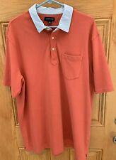 Mens Lands End Polo Shirt  XL 46-48 Short Sleeve Burnt Orange with Blue Collar