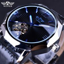 Winner Blue Ocean Geometry Design Transparent Skeleton Luxury Automatic Watches