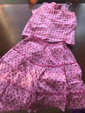 Girls Lehenga skirt choli sz 28 cotton Indian pink flowers cotton Krishna com