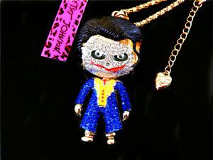 Betsey Johnson Crystal Blue Enamel Joker Pendant Necklace Sweater Chain