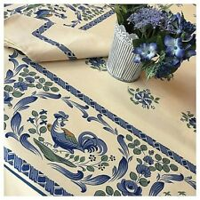 "BEAUVILLE, LES COQS (ROOSTERS), BLUE FRENCH SATIN COTTON TABLECLOTH, 55"" X 83"""