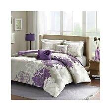 Purple King Bedding 5 Piece Set Reversible Comforter Silver Gray Floral Bedroom